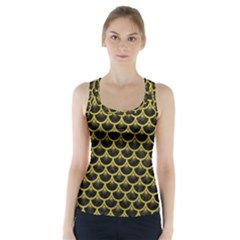 Scales3 Black Marble & Yellow Leather (r) Racer Back Sports Top
