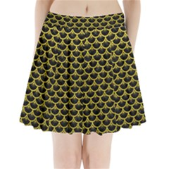 Scales3 Black Marble & Yellow Leather (r) Pleated Mini Skirt