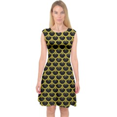 Scales3 Black Marble & Yellow Leather (r) Capsleeve Midi Dress