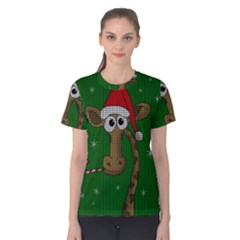 Christmas Giraffe  Women s Cotton Tee