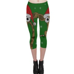 Christmas Giraffe  Capri Leggings