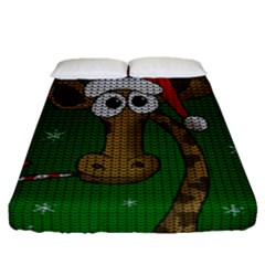 Christmas Giraffe  Fitted Sheet (queen Size)