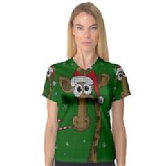 Christmas Giraffe  V Neck Sport Mesh Tee