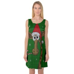 Christmas Giraffe  Sleeveless Satin Nightdress