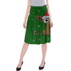 Christmas Giraffe  Midi Beach Skirt