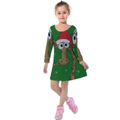 Christmas Giraffe  Kids  Long Sleeve Velvet Dress