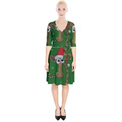 Christmas Giraffe  Wrap Up Cocktail Dress