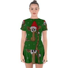 Christmas Giraffe  Drop Hem Mini Chiffon Dress