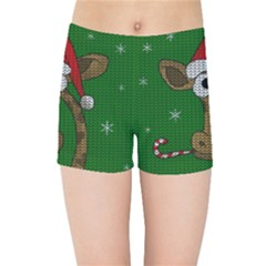Christmas Giraffe  Kids Sports Shorts