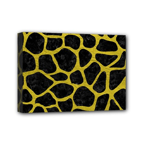 Skin1 Black Marble & Yellow Leather Mini Canvas 7  X 5