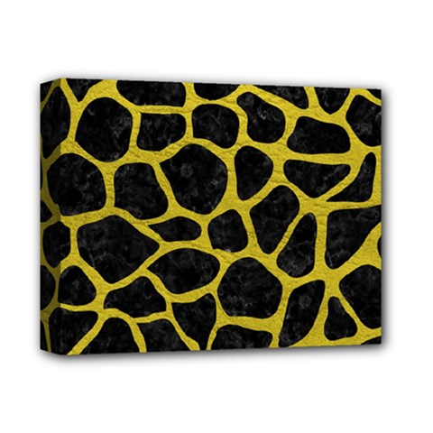 Skin1 Black Marble & Yellow Leather Deluxe Canvas 14  X 11
