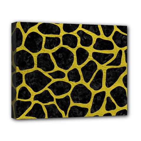 Skin1 Black Marble & Yellow Leather Deluxe Canvas 20  X 16
