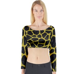 Skin1 Black Marble & Yellow Leather Long Sleeve Crop Top