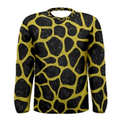 Skin1 Black Marble & Yellow Leather Men s Long Sleeve Tee