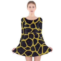 Skin1 Black Marble & Yellow Leather Long Sleeve Velvet Skater Dress