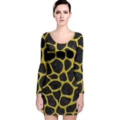 Skin1 Black Marble & Yellow Leather Long Sleeve Velvet Bodycon Dress