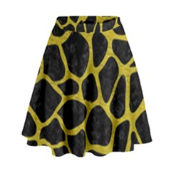 Skin1 Black Marble & Yellow Leather High Waist Skirt