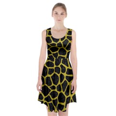 Skin1 Black Marble & Yellow Leather Racerback Midi Dress