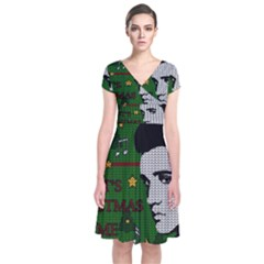 Elvis Presley   Christmas Short Sleeve Front Wrap Dress