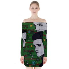 Elvis Presley   Christmas Long Sleeve Off Shoulder Dress