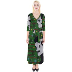 Elvis Presley   Christmas Quarter Sleeve Wrap Maxi Dress