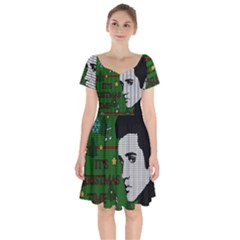 Elvis Presley   Christmas Short Sleeve Bardot Dress
