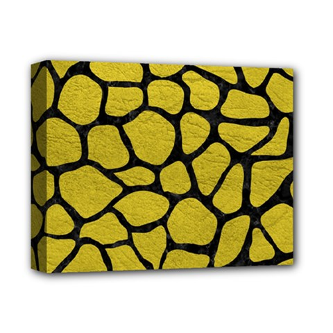 Skin1 Black Marble & Yellow Leather (r) Deluxe Canvas 14  X 11