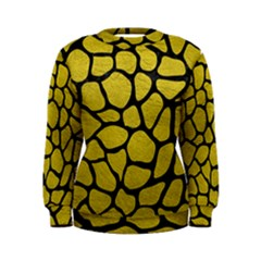 Skin1 Black Marble & Yellow Leather (r) Women s Sweatshirt