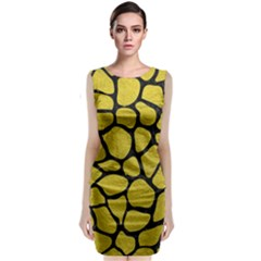 Skin1 Black Marble & Yellow Leather (r) Classic Sleeveless Midi Dress