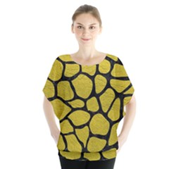 Skin1 Black Marble & Yellow Leather (r) Blouse