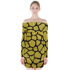 Skin1 Black Marble & Yellow Leather (r) Long Sleeve Off Shoulder Dress