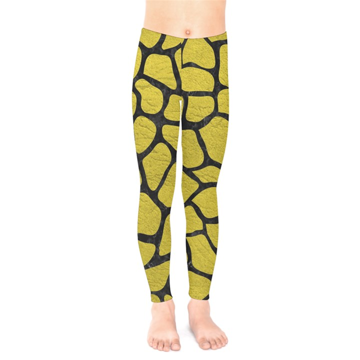 SKIN1 BLACK MARBLE & YELLOW LEATHER (R) Kids  Legging
