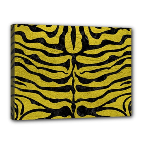 Skin2 Black Marble & Yellow Leather Canvas 16  X 12