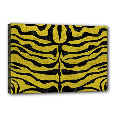 Skin2 Black Marble & Yellow Leather Canvas 18  X 12