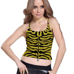 Skin2 Black Marble & Yellow Leather Spaghetti Strap Bra Top