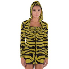 Skin2 Black Marble & Yellow Leather Long Sleeve Hooded T Shirt