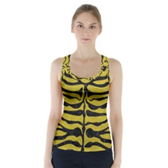 Skin2 Black Marble & Yellow Leather Racer Back Sports Top