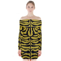 Skin2 Black Marble & Yellow Leather Long Sleeve Off Shoulder Dress