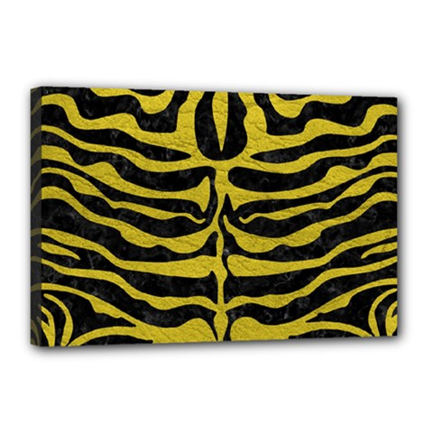 Skin2 Black Marble & Yellow Leather (r) Canvas 18  X 12