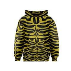 Skin2 Black Marble & Yellow Leather (r) Kids  Pullover Hoodie