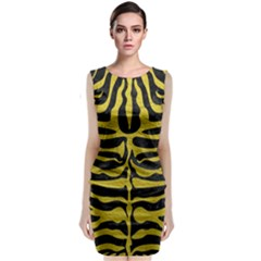Skin2 Black Marble & Yellow Leather (r) Classic Sleeveless Midi Dress