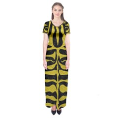 Skin2 Black Marble & Yellow Leather (r) Short Sleeve Maxi Dress