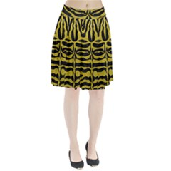 Skin2 Black Marble & Yellow Leather (r) Pleated Skirt
