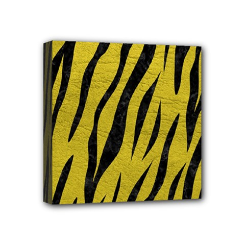 Skin3 Black Marble & Yellow Leather Mini Canvas 4  X 4