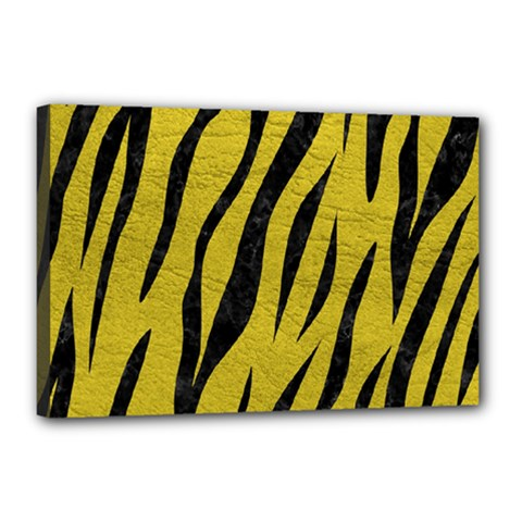 Skin3 Black Marble & Yellow Leather Canvas 18  X 12