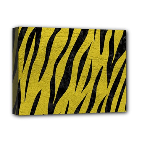 Skin3 Black Marble & Yellow Leather Deluxe Canvas 16  X 12