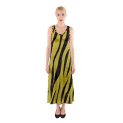 Skin3 Black Marble & Yellow Leather Sleeveless Maxi Dress