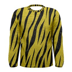 Skin3 Black Marble & Yellow Leather Men s Long Sleeve Tee