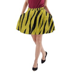 Skin3 Black Marble & Yellow Leather A Line Pocket Skirt