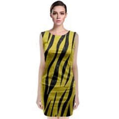 Skin3 Black Marble & Yellow Leather Classic Sleeveless Midi Dress